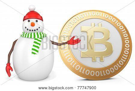 3D Snowman With  Bitcoin