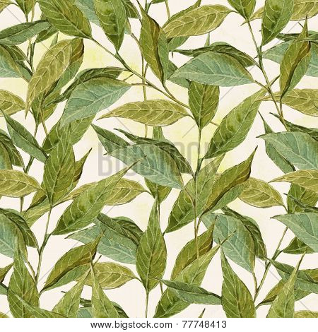 Seamless Watercolor Background with Twigs, Leaves