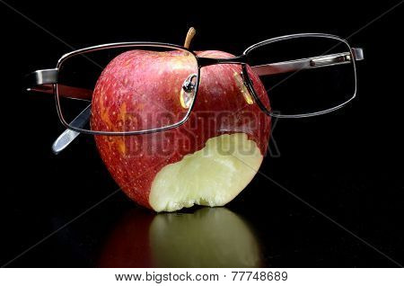 Eaten Apple With Glasses