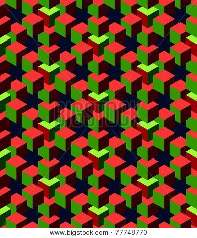 abstract green and red cubes with deep blue background