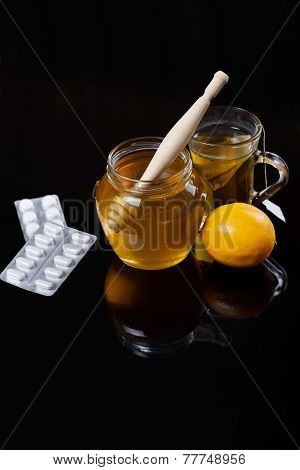 Honey, Tea And Medicine, Flue Concept, Dark Background