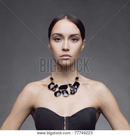 Fashion photo of beautiful lady wear elegant necklace