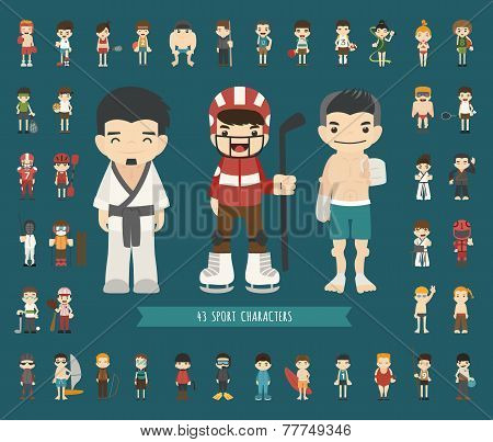 Set Of 43 Sport Characters