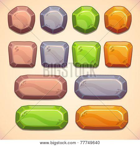 Set of stone buttons