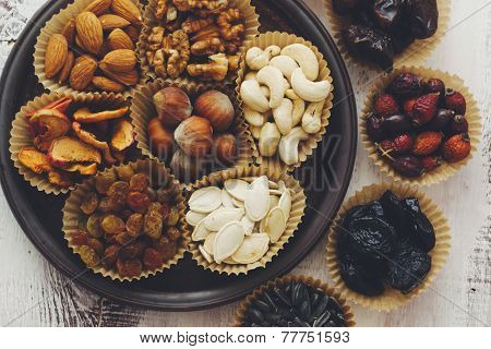 Variety of 7 assorted nuts and dried fruits, top view