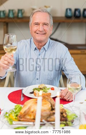 Smiling man toasting at christmas dinner at home in the living room