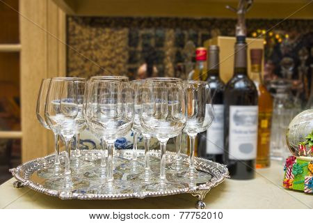 Wine Glasses On A Silver Platter