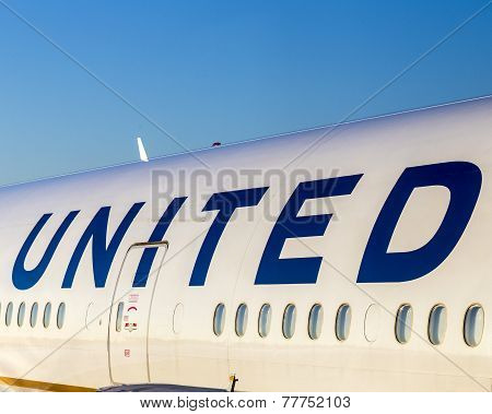United Airlines Aircraft Logo At An Aircraft