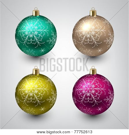 Vector illustration of shiny christmas balls. Winter decoration.