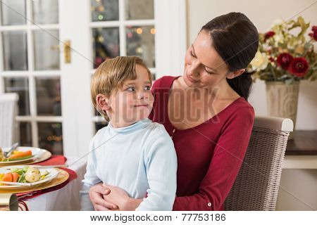 smiling mother with her son sitting on lap at home in the living room