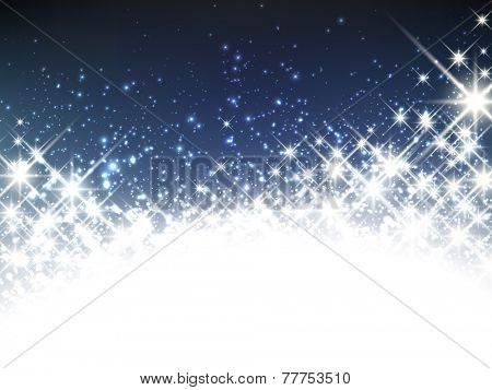 Shiny starry christmas banner. Vector winter Illustration.