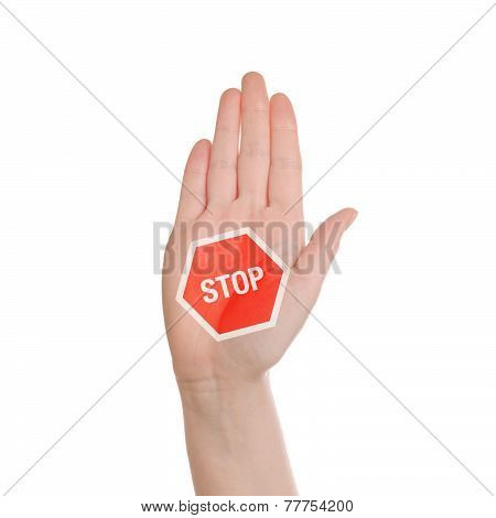 Hand Making Stop Sign On White Background