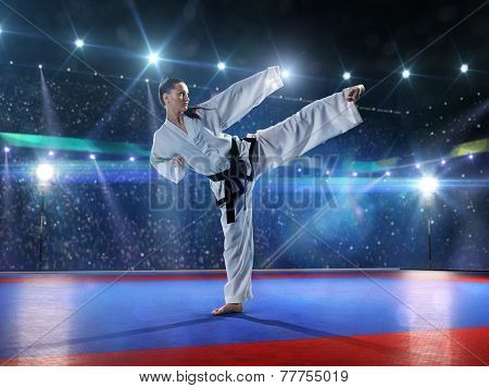 Professional female karate fighter