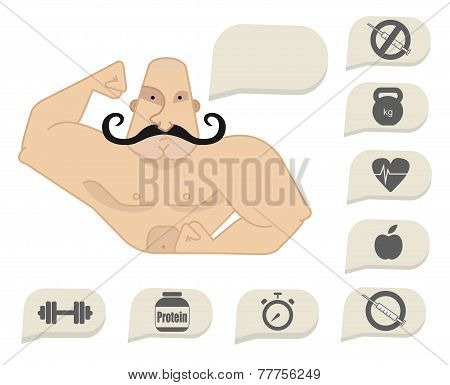 Bodybuilder Torso With Speech Bubbles