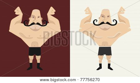 2 Bald, Mustached Athlete's In 2 Different Styles