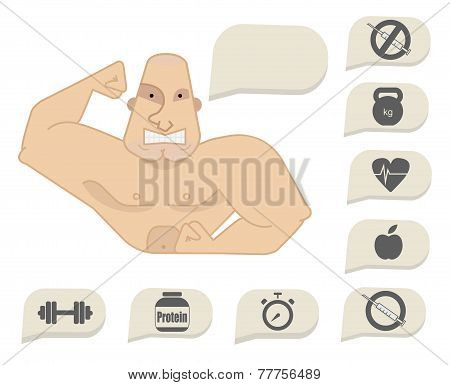 Bodybuilder Torso With Speech Bubbles. Tense Face