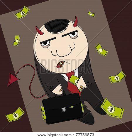 Cartoon style devil in suit