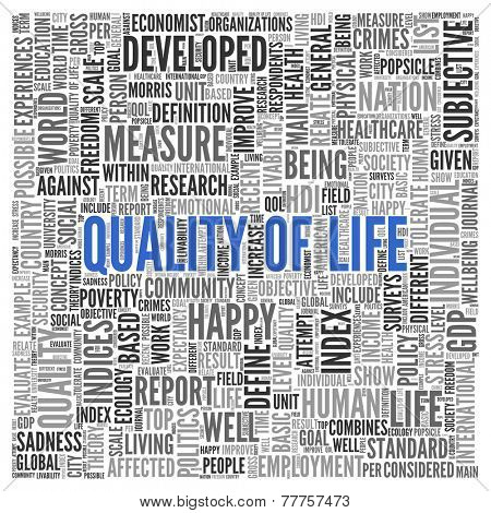 Close up Blue QUALITY OF LIFE Text at the Center of Word Tag Cloud on White Background.