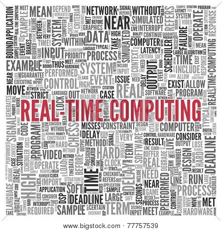 Close up Red REAL-TIME COMPUTING Text at the Center of Word Tag Cloud on White Background.