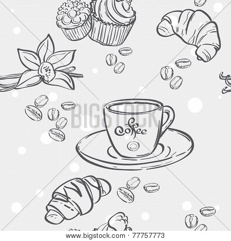 Seamless pattern with cup of coffee croissants and muffins