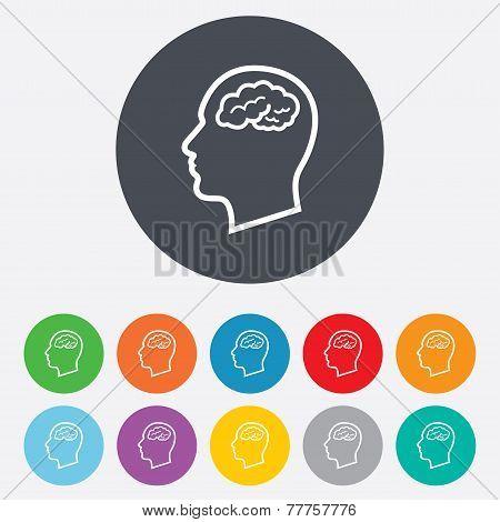 Head with brain sign icon. Male human head.