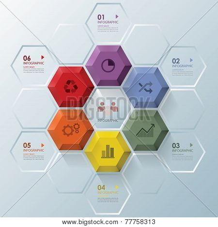Modern Hexagon Shape Business Infographic Design Template
