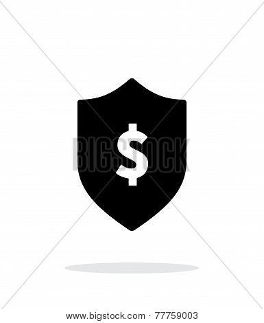 Financial security shield with dollar sign icon on white background.