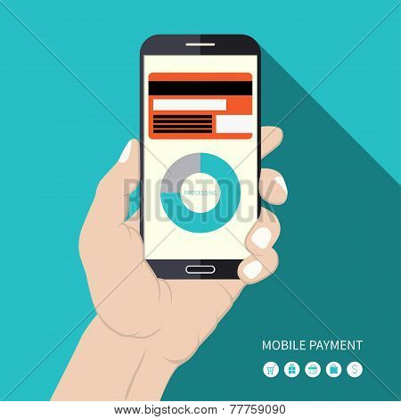 Flat design mobile payment vector concept illustration