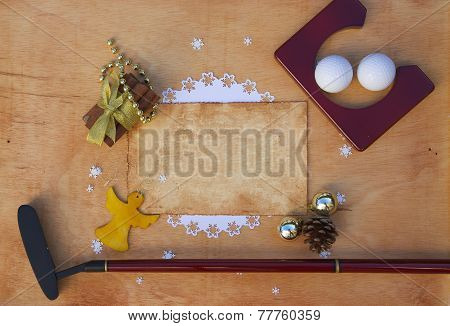 Golf objects on a wooden surface