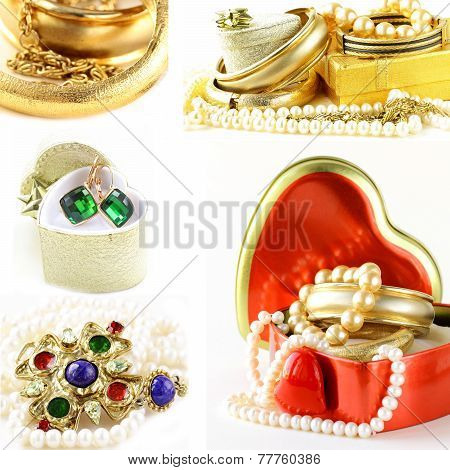 collage of various jewelry of gold and precious stones (bracelets, necklaces, earrings, chains)