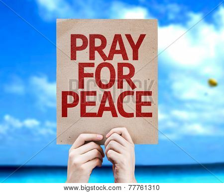 Pray For Peace card with a beach on background