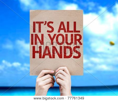 It's All In Your Hands card with a beach on background