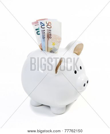 Piggy Bank With Money Bills