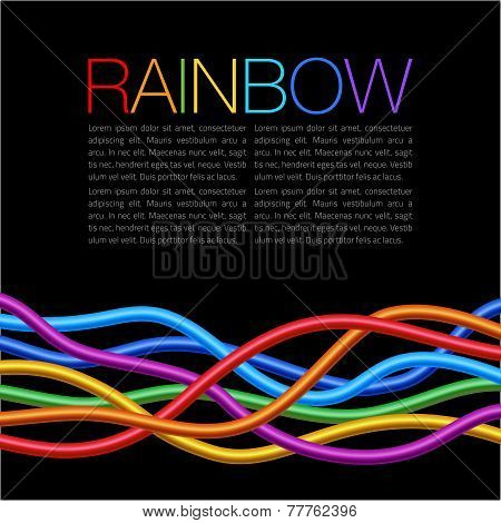 Rainbow Twisted Bright Vibrant Wares on black background
