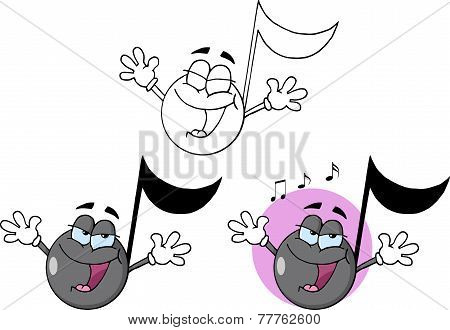 Music Note Cartoon Character Singing. Collection Set