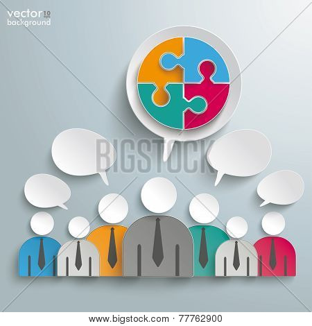 7 Businessmen Speech Bubbles Circle Puzzle