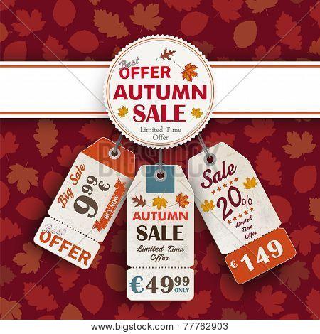 Autumn Foliage Emblem Banner Price Sticker