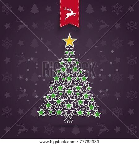 Christmas Background Greeting Card Stars Tree