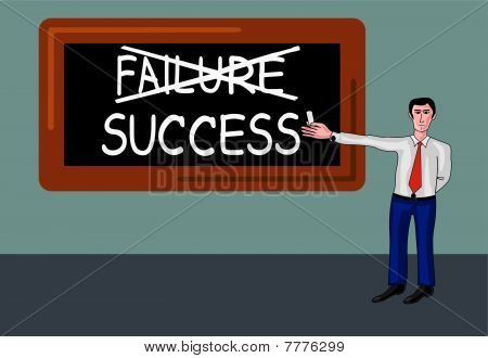 man with blackboard with success-failure concept