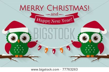 Christmas Card With Cute Owls And A Garland. Vector Illustration.