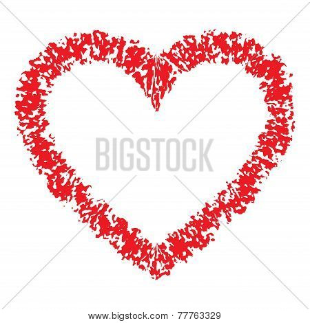 Red Hand Drawn Thick Contour Grunge Heart logo