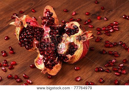 The Single Pomegranate On The Wood