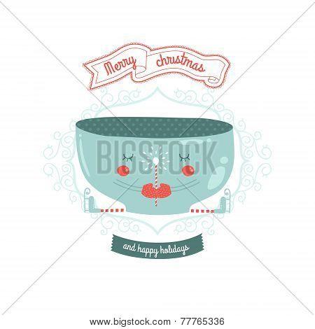Christmas vector card with mug