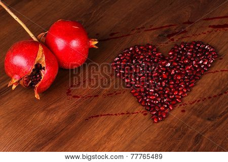 Two Pomegranate And Heart Composition
