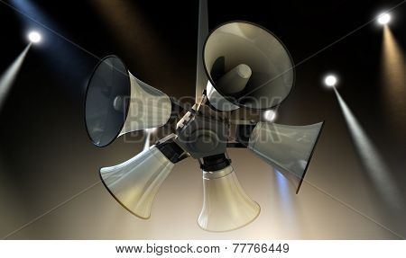 Horn Speakers Hanging Spotlights