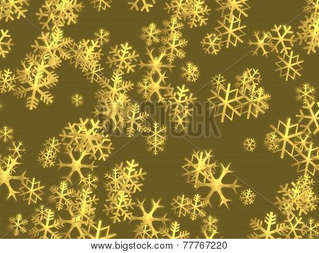Christmas golden snowflakes background