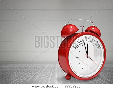 Frohes neues jahr in red alarm clock against grey room
