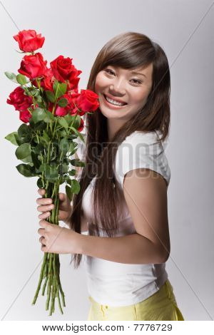 Happy Asian Beauty With Roses