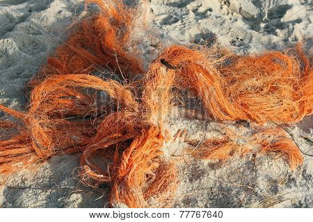 Refuse Of Fishing Nets On The North Sea Beach