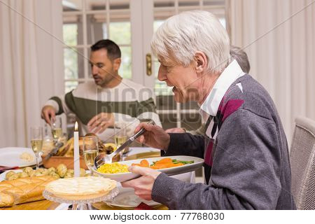 Family having christmas dinner together at home in the living room